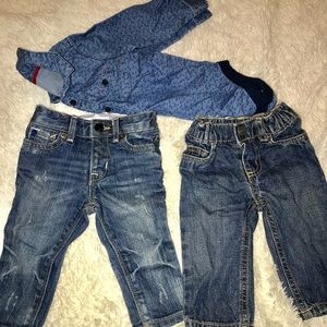 Other - 2 pair cute baby boy jeans with denim shirt